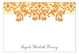 Delightful Damask Tangerine Flat Note Card