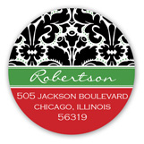 Black Green and Red Elegant Black Damask Round Sticker