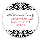 Elegant Black Damask Round Sticker