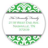 Elegant Green Damask Round Sticker