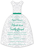 Emerald Bridal Damask Invitation