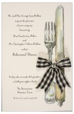 English Silver With Black Check Ribbon Invitation
