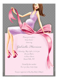 Expecting a Big Gift Girl - Brunette Invitation