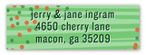 Green and Red Falling Confetti Return Address Labels