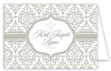 Fancy Cross Gray Folded Note Card