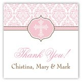 Fancy Pink Cross Square Personalized Gift Tags