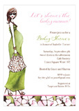 Fashionable Mom Green - Brunette Invitation