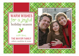 Festive Joyful Plaid Photo Card