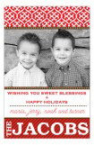 Festive Pattern and Stripe Red Photo Card