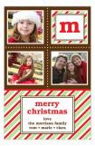 Festive Peppermint Stripe Initial Photo Card
