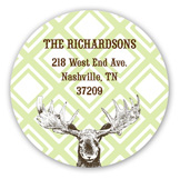 Festive Reindeer Round Sticker