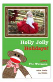 Festive Sock Monkey Photo Card