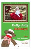 Festive Sock Monkey Photo Card