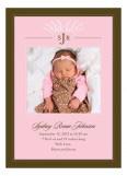 Filigree Monogram Pink Photo Card