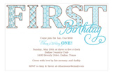 First B-day Blue Patterns Invitation
