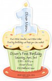 First Birthday Cupcake Boy Die-cut Invitation