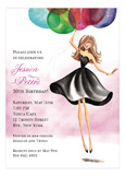 Floating Party Girl Invitation