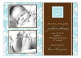 Floral Blue Initial Block Photo Card