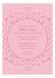 Floral Border Pink Girl Baby Sprinkle Invitations