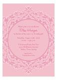 Floral Border Pink Invitation