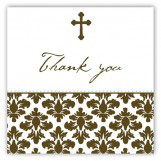Floral Damask Cross Square Sticker