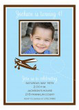 Flying Blue Plane Photo Invitation