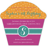 Girl Monogram Cupcake Invitation
