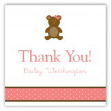 Girl Teddy Bear Icon Square Sticker