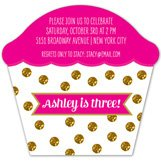 Glitter Dots Cupcake Invitation