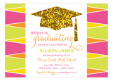 Glitter Grad Cap Invitation