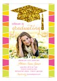 Glitter Grad Cap Photo Card
