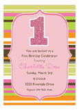 Glittery Stripes Girl Invitation
