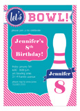 Go Bowling! Hot Pink Invitation