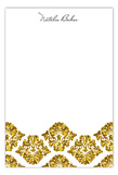 Gold Glitter Damask Flat Note Card