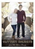 Gold Glittery Holidays Photo Card