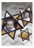 Gold Hanukkah Stars Photo Card