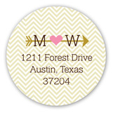 Gold Heart and Arrow Round Sticker