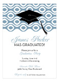 Grad Cap On Circular Weave Blue Invitation