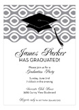 Grad Cap On Circular Weave Gray Invitation