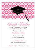 Grad Cap On Circular Weave Pink Invitation