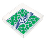 Green and Blue Nautical Monogram Square Lucite Tray