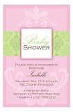 Green and Pink Damask Invitation