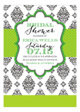 Green Brocade Bridal Brunch Invitations