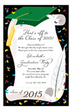 Green Cap and Diploma Invitation