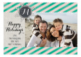 Green Christmas Monogram Photo Card