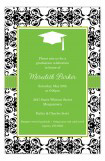 Green Damask Grad Invitation
