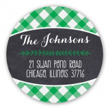 Green Gingham Christmas Chalkboard Round Sticker