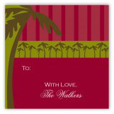 Green Holiday Palm Square Sticker