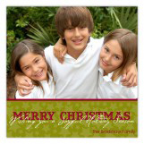 Green Holiday Stars Photo Card
