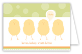 Green Polka Dot Chicks Folded Note Card